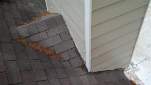 Previous chimney leaks lead to installing new flashing and replacing Hardi siding board.